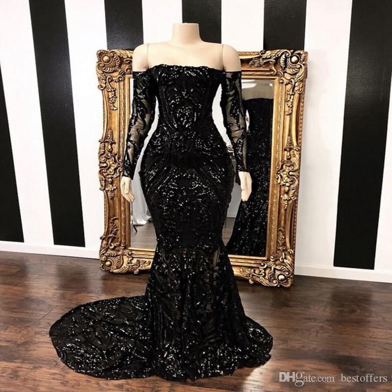 Shiny Long Prom Dresses 2020 Boat Neck Long Sleeve Sequined Floor Length Mermaid African Black Girl Evening Dress