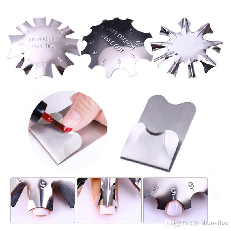 Acciaio inossidabile French Smile con Nail Stencil Cutter Trimmer Clipper Piatto French Plastic Nail Modello Easy Manicure Tool F2885