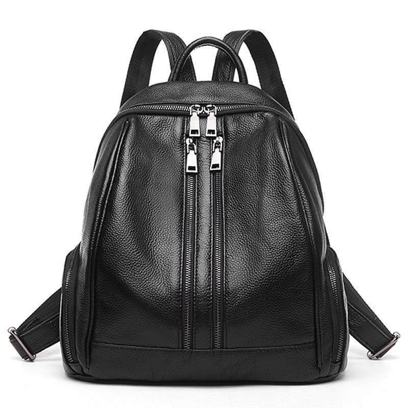 2020 Duplo Zipper Casual mochila Estilo Mulheres de 100% macio couro real Escola Female Bag Boa qualidade do couro menina Backpack