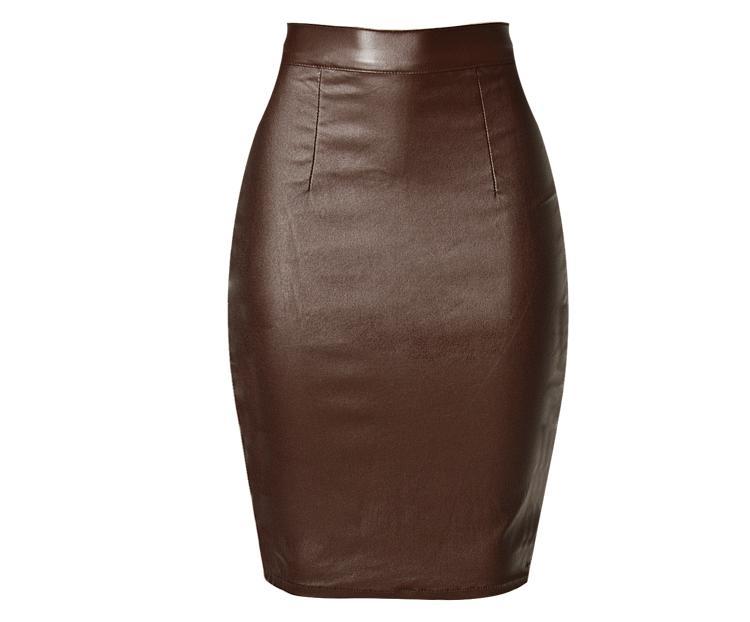 Senhoras saia curta cintura alta magro trecho cor marrom revestido falso denim saia locomotiva modelos após a divisão de tamanho grande