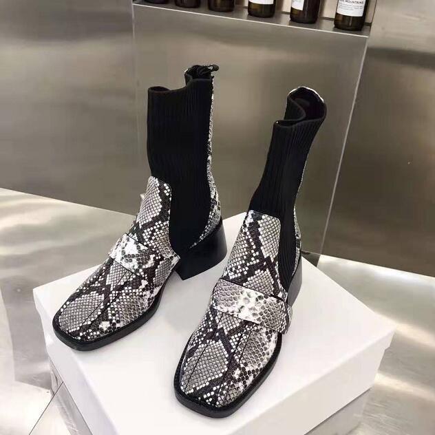 Kadın Paris Gerçek Deri Bilek Boots Bea Yarım çorap Çorap Çizme karung Yılan Desen Yılan derisi Buzağı Deri Yeni Ayakkabı 35-39