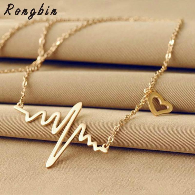 Welle Herz Chic EKG Herzschlag Rose Gold / Silber Farbe Anhänger Charme Maxi Halsketten Kette Rhythmus Valentinstag Geschenke