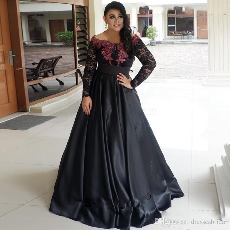 Satin noir une épaule Mère de robes de mariée en dentelle robe longue Appliques Robe de marié Renda Mère robe