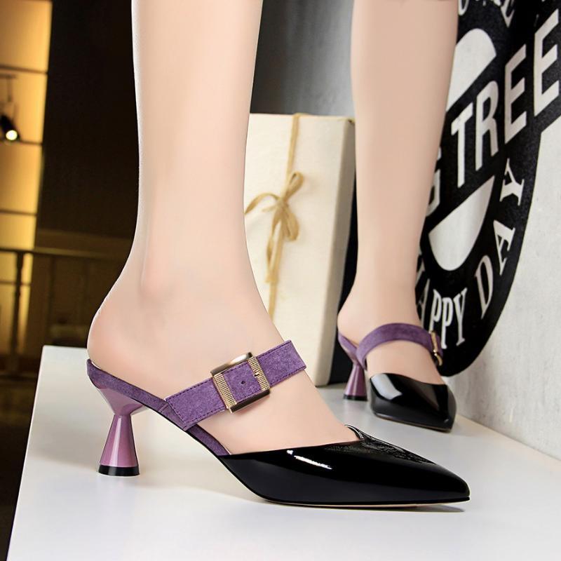 Mulheres Verão de 2020 Estilo 6 centímetros Baixo Salto Alto mulas Shales Slides Casual Amarelo estranhas Salto Chinelos Sexy moda verde Shoes