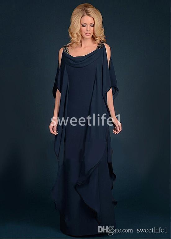 2020 Encantador Da Marinha Azul Mãe Vestidos Colher Pescoço Uma Linha Chiffon Até O Chão Mãe Da Noiva Vestidos Custom Made Barato Venda Quente