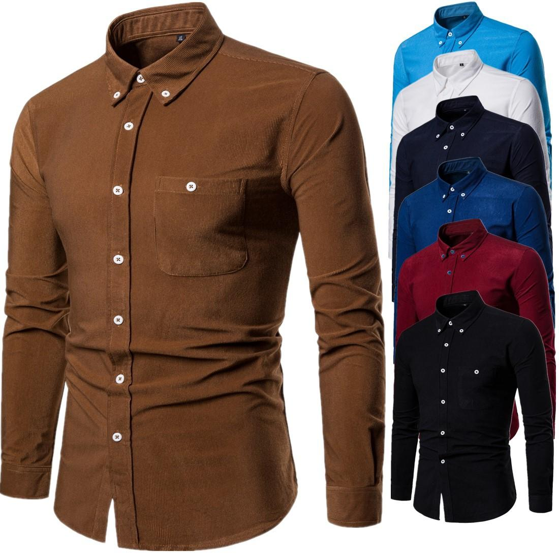 Spring Autumn New Mens Shirt High Quality Large Size Long Sleeve Corduroy Shirt Men Fashion Casual Shirts Size M-5XL