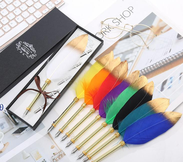 Simple spray gold feather pen gift box creative student feather pen stationery gift metal Feather Dip Pen