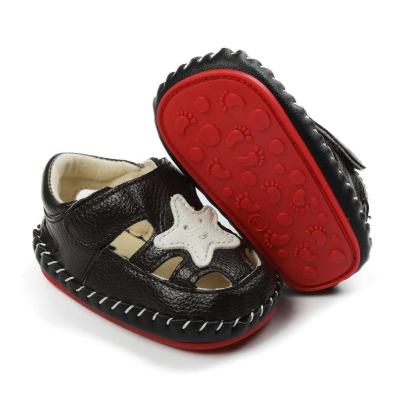 Baby Neugeborenes Baby-Schuhe PU-Leder Schnalle erste Wanderer mit Stern Muster weichbesohlte Anti-Rutsch-Krippe-Schuhe