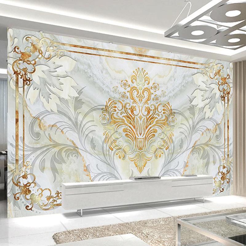 Drop Shipping Motif de style européen Marbre peint Salon TV Canapé Décoration murales Stickers muraux étanches