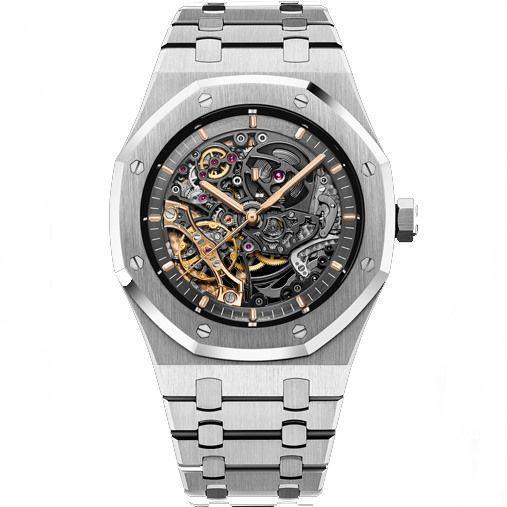 남성 자동 기계 시계 남성 시계 다이버 스포츠 스틸 스트랩 15407 남성 사파이어 유리 중공 손목 시계 5TM의 워터프를보고