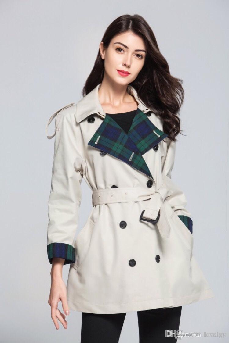 المرأة قصيرة خندق معطف منقوشة فضفاضة خندق معاطف مزدوجة الصدر حزام سترة واقية النمط البريطاني الكلاسيكي خندق coats2019 جديد م