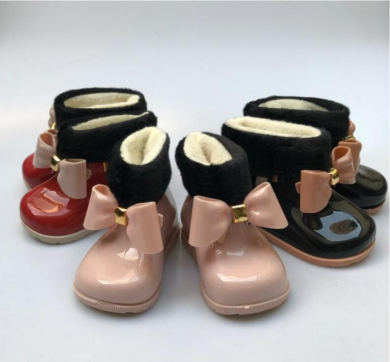 Baby Girls Rain Boots Baby Kids Rain Boots Warm Beauty Bow Rainboots Fashion Rubber Shoes Toddler Kids Jelly shoes Y200104