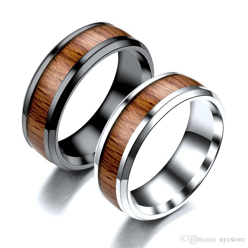 상감 티크 티타늄 강철 반지 남자의 결혼 반지 복고풍 나뭇결 디자인 반지 남성 여성의 보석에 대한