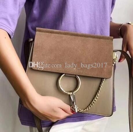 New Classic Ladys Suede cadena del anillo del círculo del bolso de hombro de los bolsos de las mujeres de la aleta Cadena Bolsa Crossbody Bag Lady Mensajero bolsos monedero