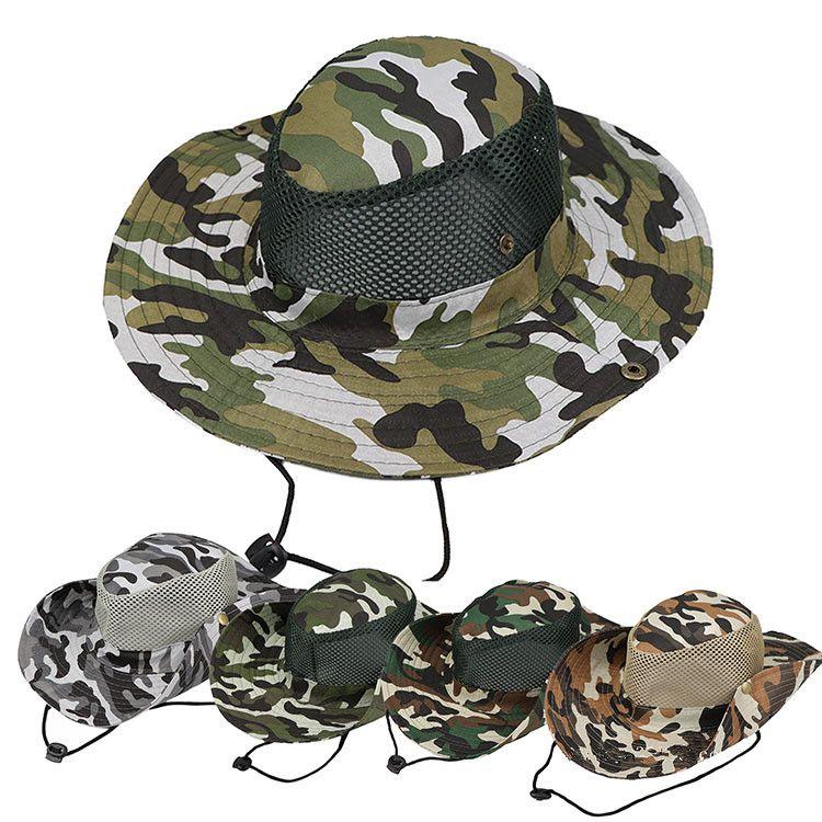 Boonie Hat 스포츠 위장 정글 군사 모자 성인 남성 여성 카우보이 넓이 낚시에 대 한 넓은 모자 aaa1875
