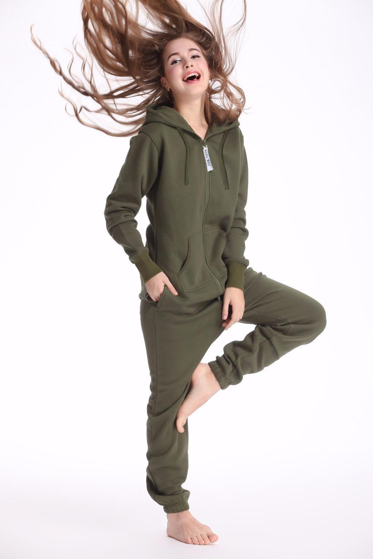İskandinav Yolu Ordu Yeşil Tek Parça Tulum Kapüşonlular Fleece Zip Kadınlar Erkekler Romper T200509