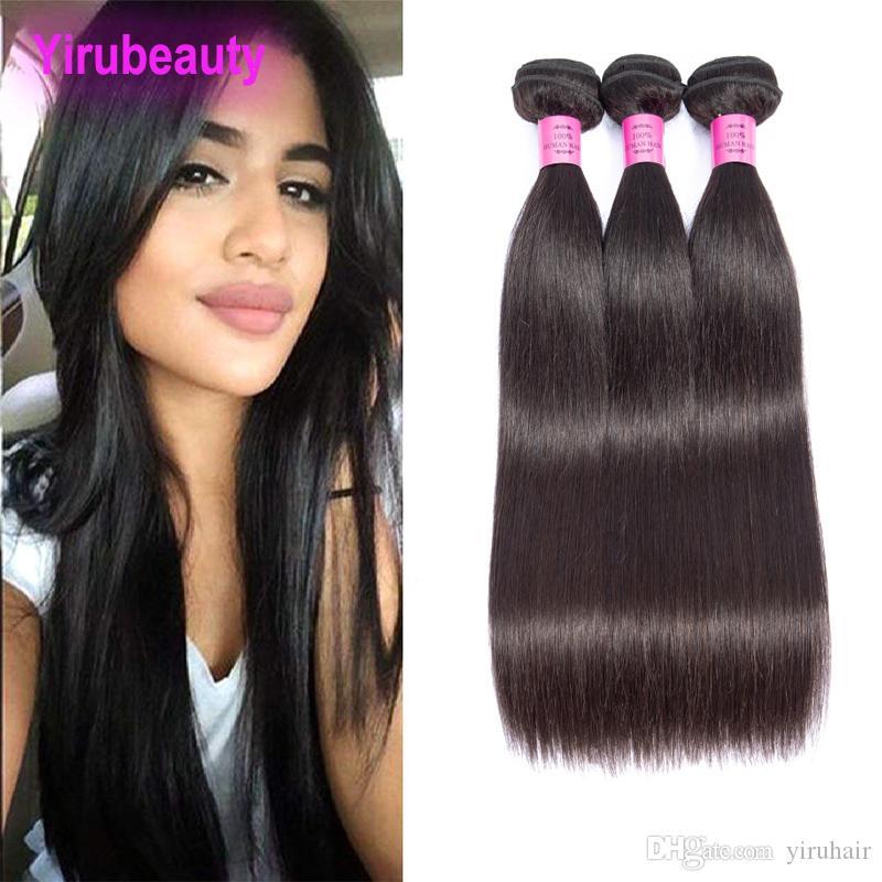 Malezyalı% 100 İnsan Saç Ürünleri 3PCS Saç Paketler İpeksi Düz 8-30inch Ucuz Remy saç örgüleri Üç Paketler