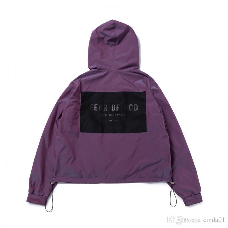 Хмель фиолетовый куртки дизайнерский страх бедро 6-й высокой моды ветровка беседка улица мужская бог капюшон повседневная куртка с капюшоном туман S-XL Revla