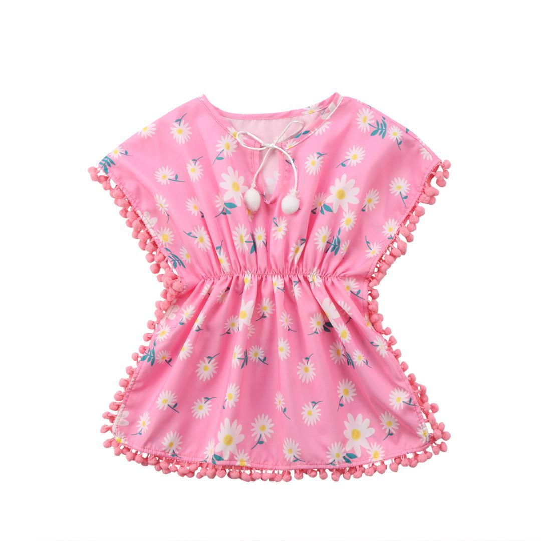 핑크 옐로우 키즈 아기 여자 드레스 비치 sundress에 느슨한 꽃 프린지 공 드레스 비키니 커버 - 업 수영복 수영복