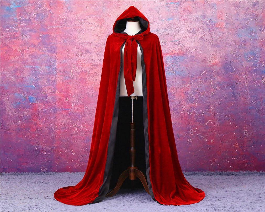 Neue preiswerte rot und schwarz Gefüttert Halloween Cape Außen Hochzeit Umhang Samt-Mantel Mittelalterliche Cape Frauen-Winter-Außen Hochzeit Umhang