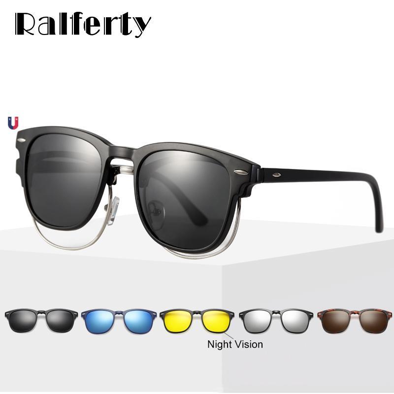Ralferty Flexible 5 In 1 Magnetic Clip On Sunglasses Men Women Polarized UV400 Sunglases Prescription Eyewear Frame No Diopter CX200704