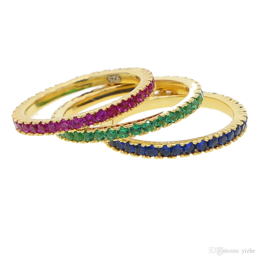echt 925 Silber Bunte cz ewigkeit band ring dünne dünne verlobung birthstone regenbogenfarbe klassische einfache runde kreis ringe