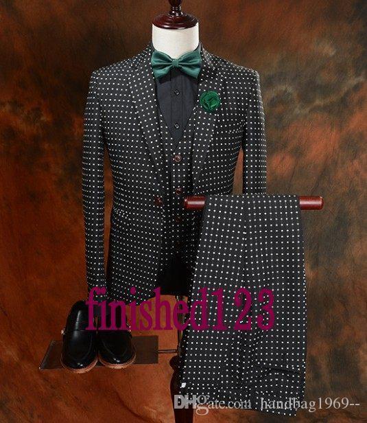 Gerçek Pic Tek Düğmeler Damat smokin Notch Yaka Man Blazer Düğün Giyim Balo takımları (Ceket + Pantolon + Vest + Tie) H472
