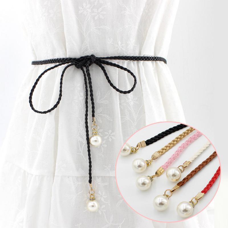 Candice Multi-color Fashion Sweet Simple Style Dress Thin Waist Rope Pearl Woven Belt For Women Accessories