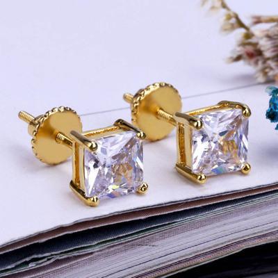 Mens Diamond Stud orecchini dal design di lusso bling lucido rock punk Rapper Oro Argento ghiacciato fuori gli orecchini