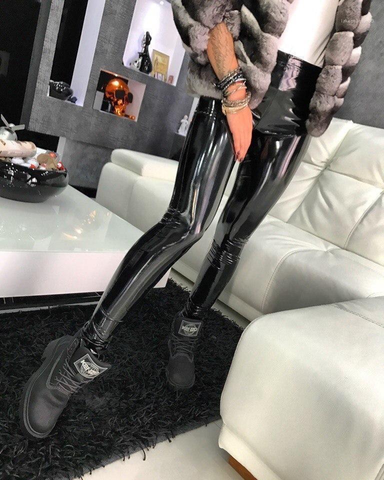 Club nocturno estilo ropa casual mujer diseñador de moda PU Leggings Sólido color sexy mujer ropa larga
