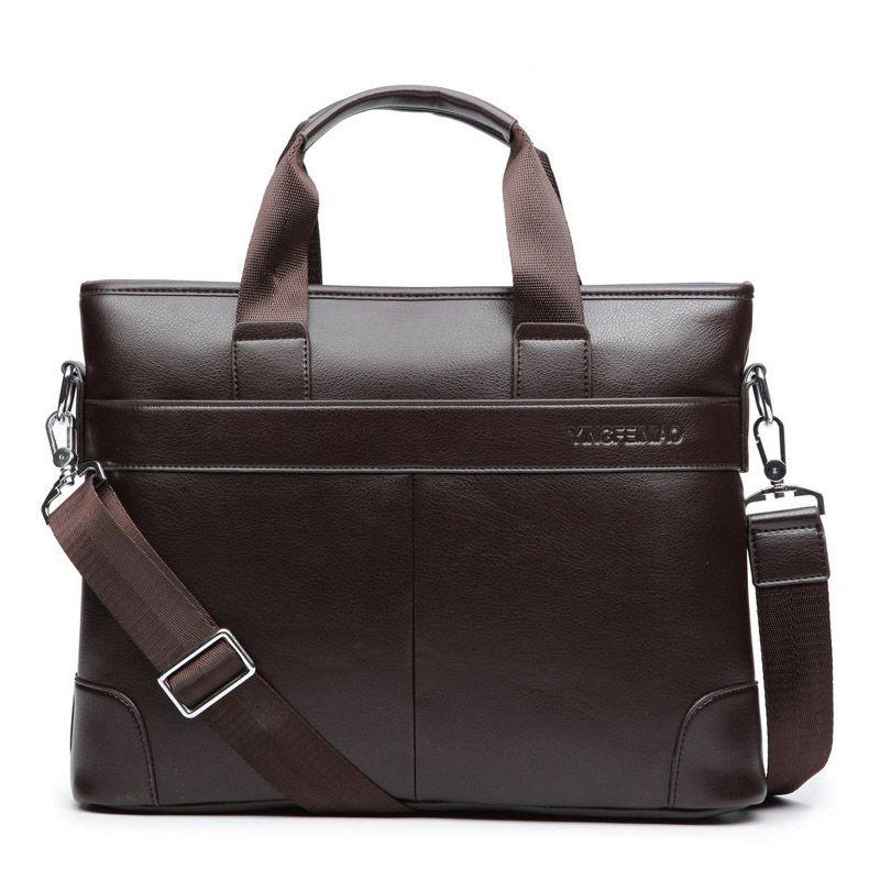 Business Casual Men Briefcase Crossbody Laptop Bag Travel Leather Handbag Tote