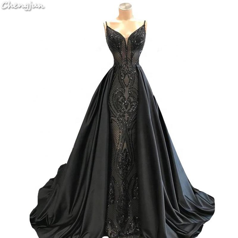 Chengjun 아시아 검은 색 긴 연회 스파게티 스트랩 패턴 이브닝 드레스