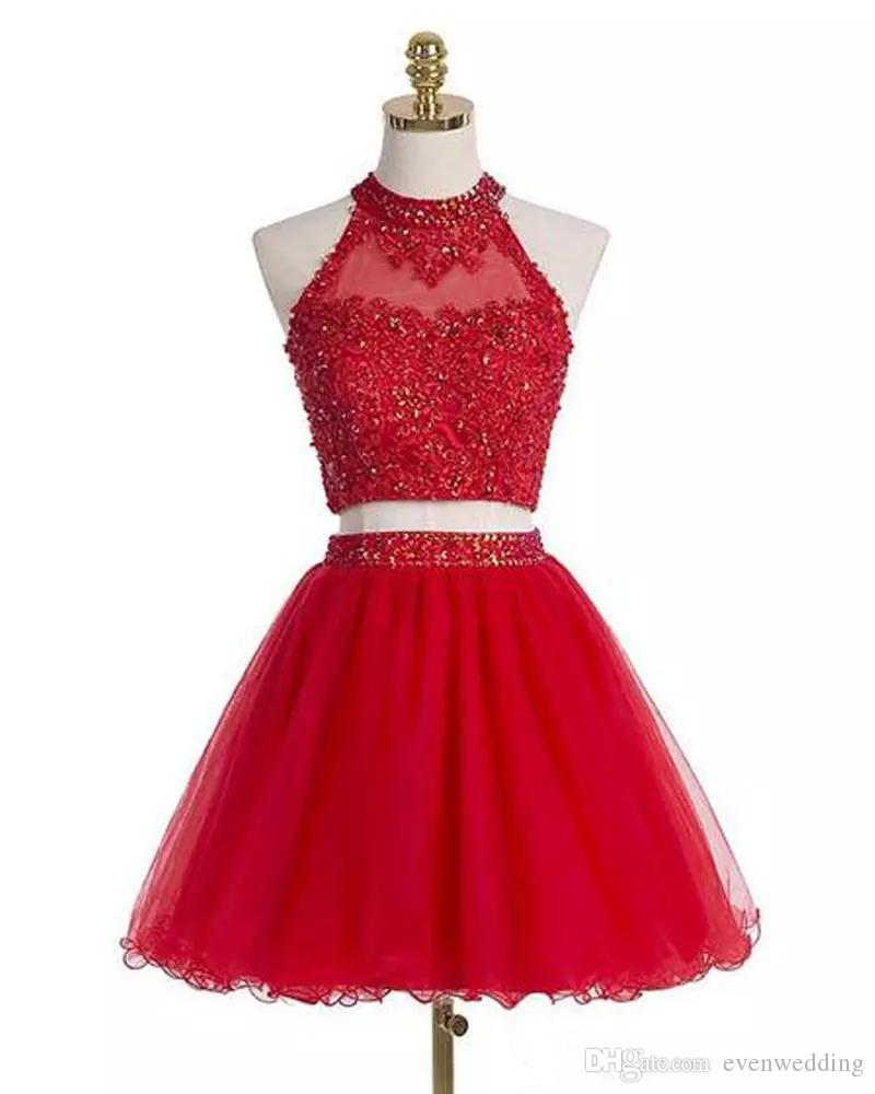 골치 아픈 건 홀터넥 목 Tulle 홈 커밍 드레스와 레이스 Appiques 2020 2 조각 댄스 파티 드레스 짧은 파티 드레스