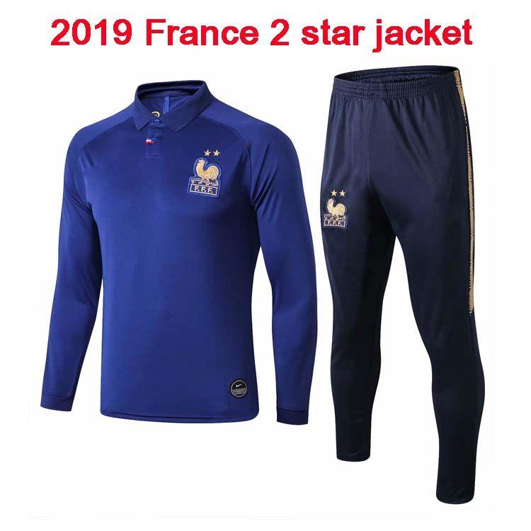 two-star jacket 2019 MBAPPE POGBA MBAPPE long sleeve jacket 2018 2019 football jogging Equipe de new soccer tracksuit training track su
