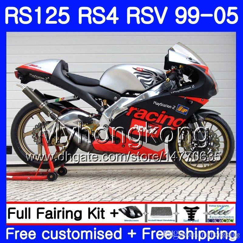 RS125R pour Aprilia Rs 125 1999 2000 2001 2002 2003 2005 318hm.0 RSV125R RS4 RS-125 RSV125 R RS125 99 00 01 02 03 04 05 Caréchage noir argenté