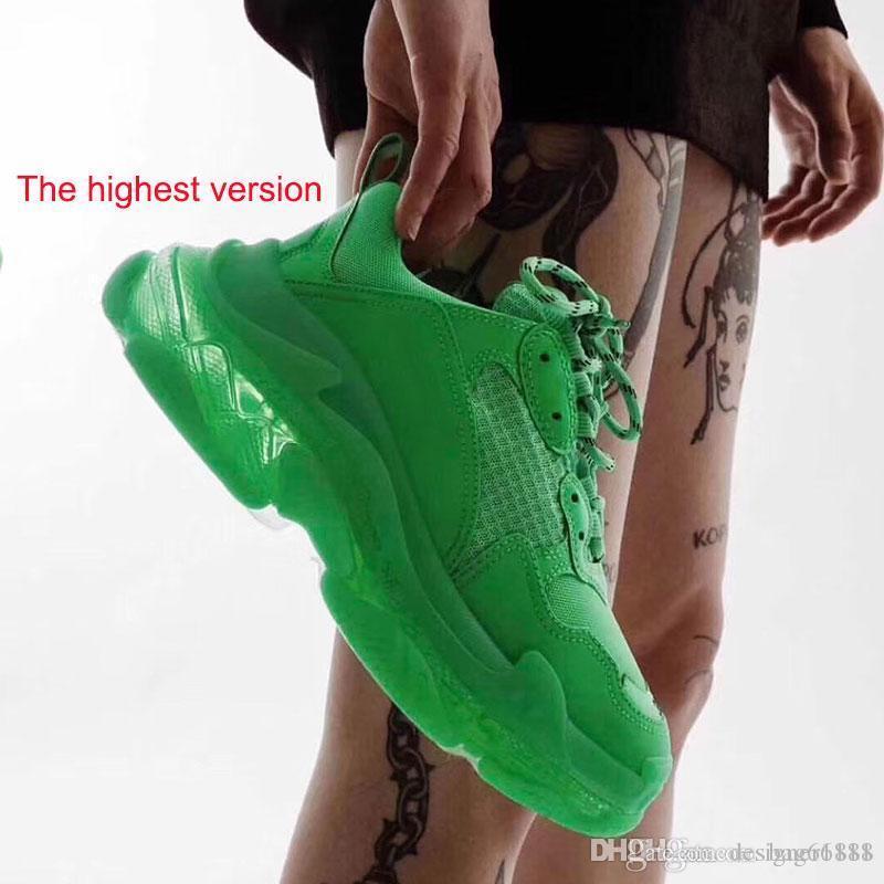 2020 zapatos de Triple S papá la mejor calidad de Triple-S zapatos casuales zapatos casuales zapatos Trainer Beige Negro Hombres Mujeres Deporte