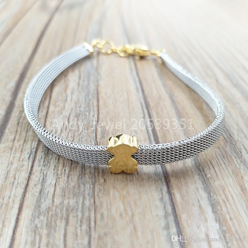 Подлинные браслеты стерлингового серебра 925 пробы сталь и золото значок сетки браслет подходит Европейский медведь ювелирные изделия стиль подарок 613101060