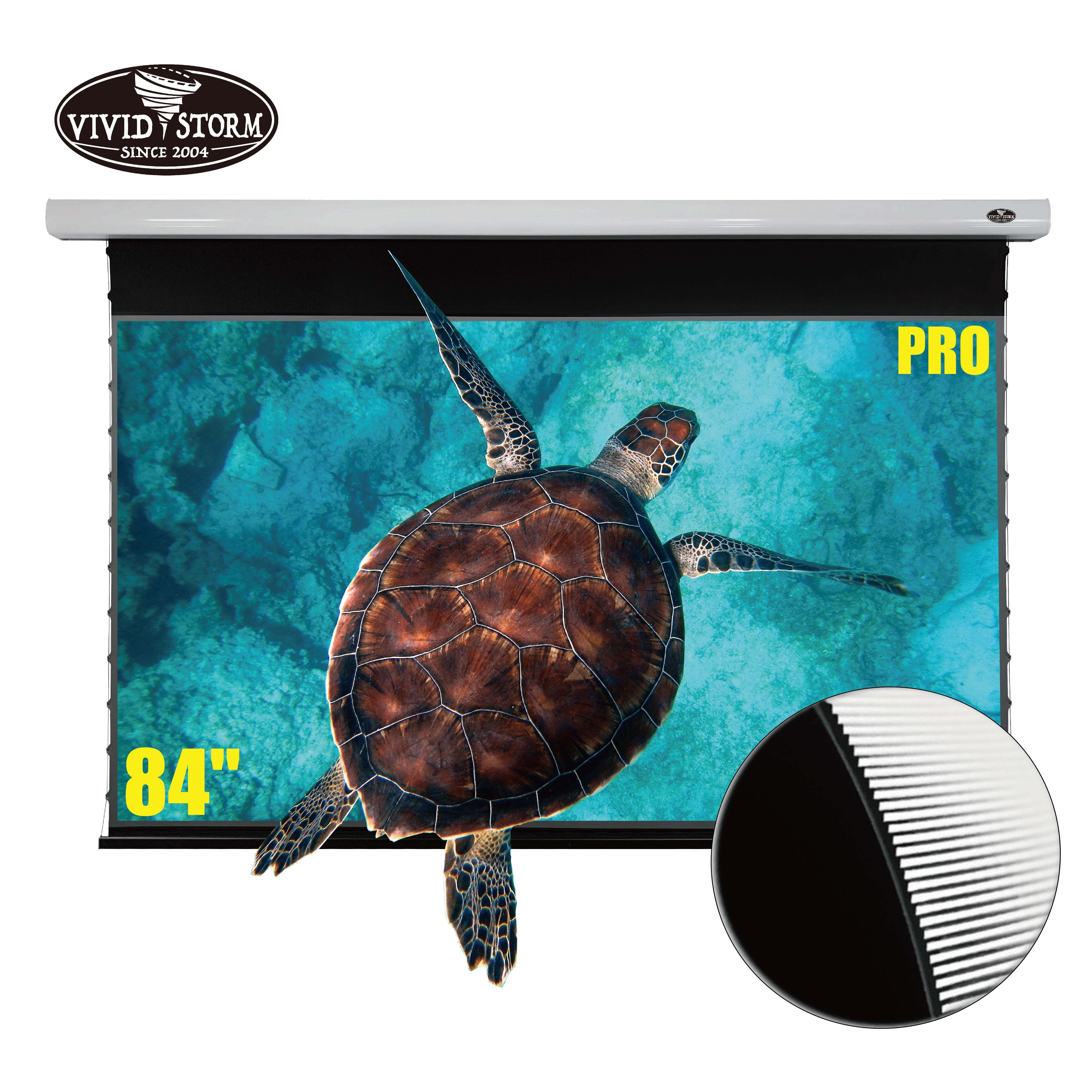 VIVIDSTORM 84 inch Drop Down screen UST Projector Ultra-Short Throw Ambient Light Rejecting home cinema 4K projector screen White housing