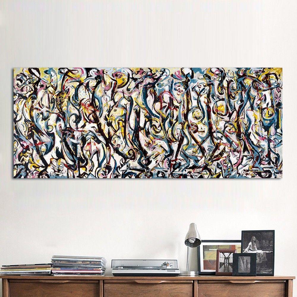 """Jackson Pollock """"Mural"""" 1943 dipinto a mano HD Stampa astratta moderna Graffiti Art pittura a olio della decorazione della casa su tela di canapa di alta qualità jk12"""