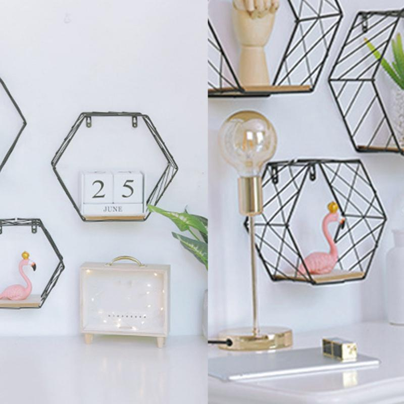 Nordic ferro Hexagonal Grade parede Floating prateleira Combinação Tapeçaria Geometric Figura Art Decoração Para Sala Quarto