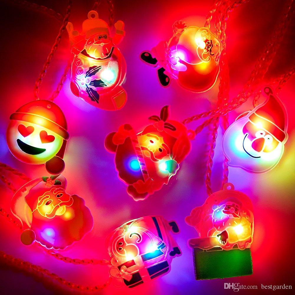 Christmas LED Light Necklace 15PCS Christmas Party Favors Light Up Flashing Necklaces Decoration for Kids Party Gift Bag Filler Bulk