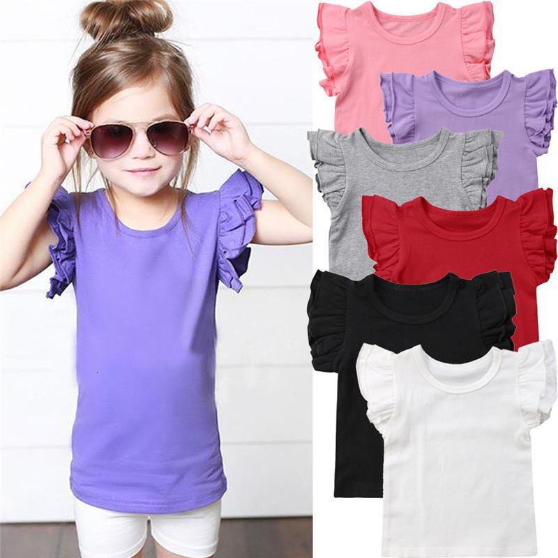 Nuova estate del bambino della ragazza dei bambini increspature manica corta 2019 Cotton Tee Tops colore della caramella scherza il bambino di T-shirt Abbigliamento 0-6 anni