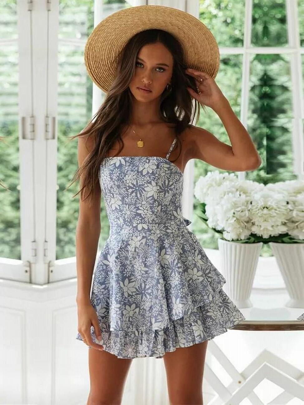 2020 Fashion Blue Flower Print Women Loose Playsuits Spring Summer Women Beath Style Ruffles Sling Playsuit Sweet Lady Dress
