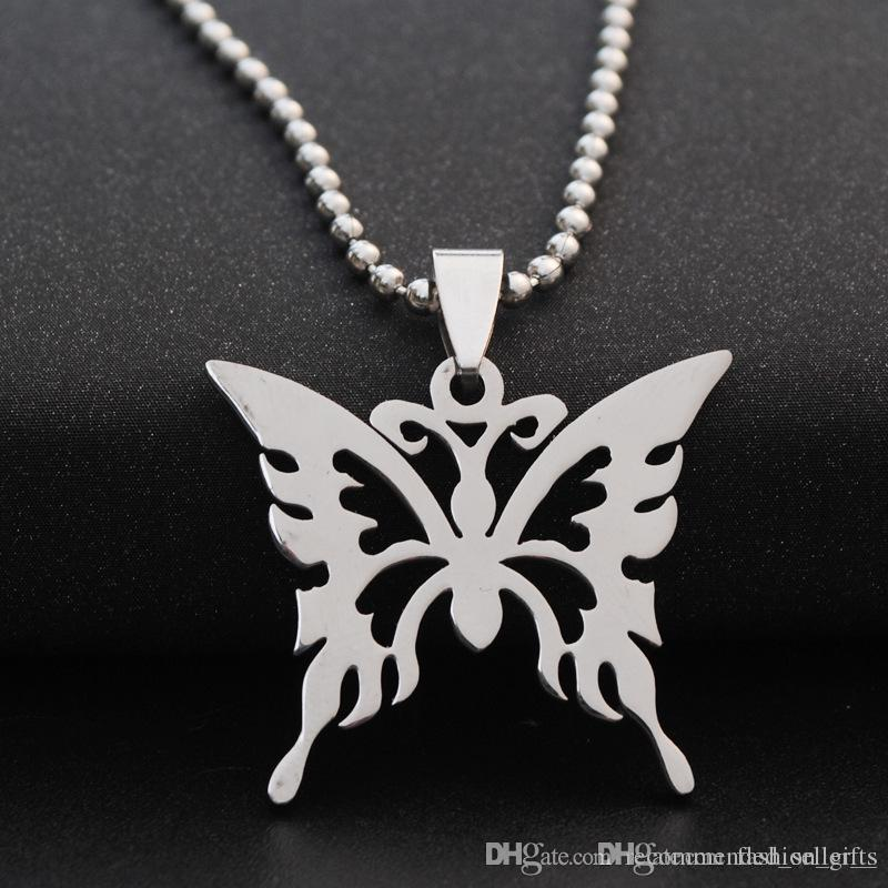 10pcs stainless steel hollow butterfly charm necklace animal insect butterfly bee necklace butterfly effect pendant charm necklace jewelry