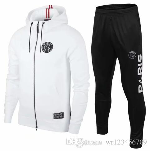 PSG beyaz Paris kapşonlu futbol ceket 18-19-20 kızarıklık eşofman futbol ceket 2019-20 Survêtement Jordam X psg kapüşonlu