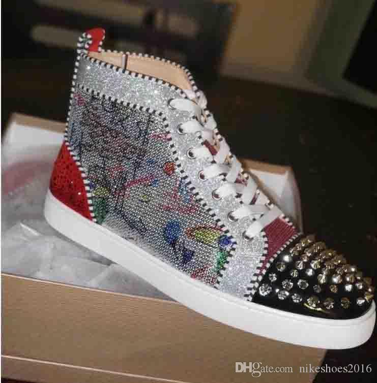 High Top Red Bottom Stuff Sneaker Herren Damenschuhe mit Perlen Graffiti Spikes Homme verzierte Turnschuhe flache Freizeitschuhe