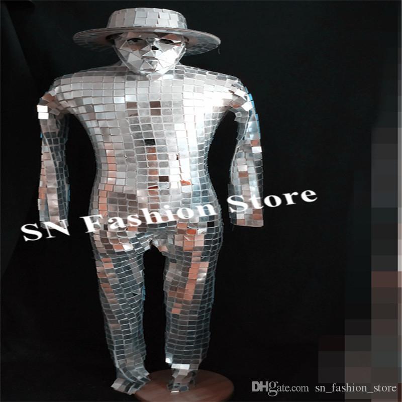 P20 homens stage performance usa trajes de dança de salão espelho de prata bodysuit masculino espelho cosplay jumpsuit bar roupas disco dj party dress