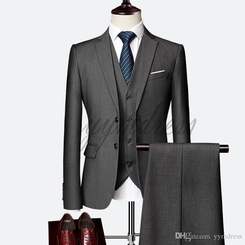 Dack Grey Harringbone Groom Tuxedos Custom Made Slim Fit Groomsmen Back Vent Wedding Best Man Suit Men's Suits (Jacket+Pants+Vest+Tie)