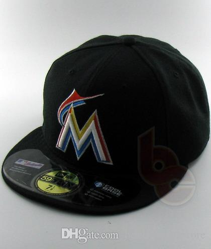 2019 Men's Marlins Full Black Color fitted hat flat Brim embroiered letter team logo fans baseball Hats size full closed Chapeu brands
