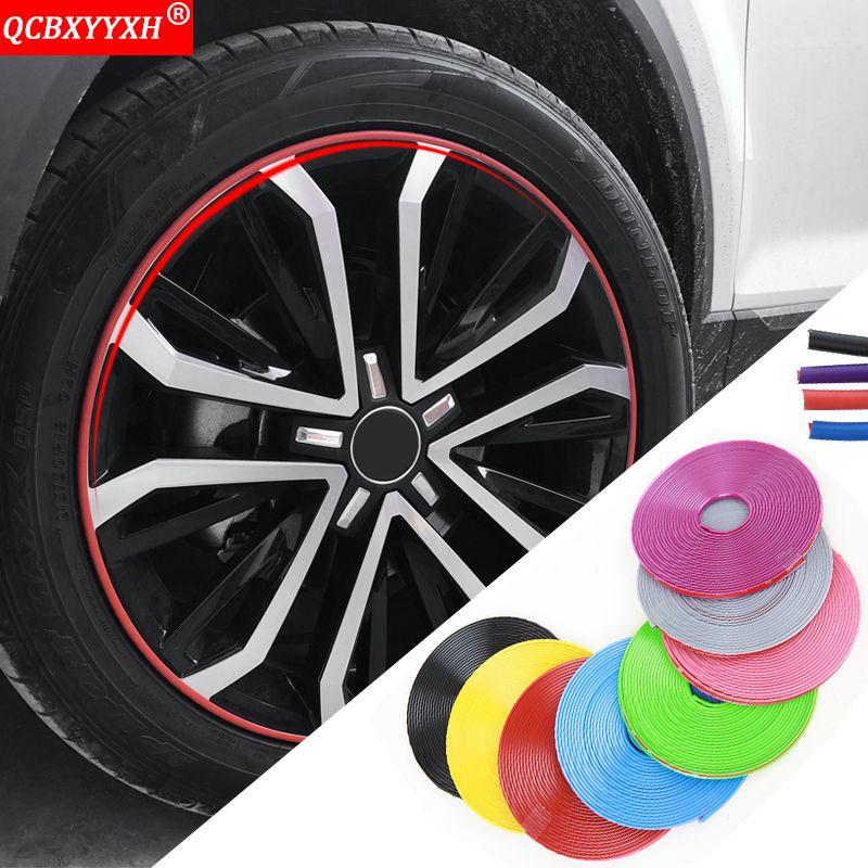 Universal Car Styling Gomma 8M Auto Ruota Autoadesivi per pneumatici Auto Decorazione Auto Strisce RIM RIM Protezione Automobili Accessori